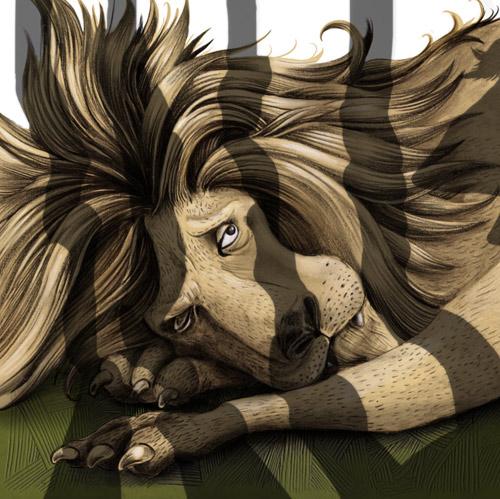 Jeune lion en cage
